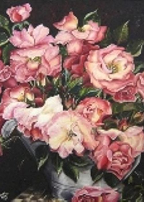 Pink Roses Floral Flowers Greeting Card featuring the painting Roses In A Watercan by Karin Dawn Kelshall- Best
