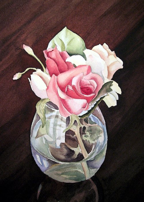 Rose Greeting Card featuring the painting Roses In The Glass Vase by Irina Sztukowski