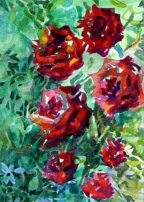 Rose Greeting Card featuring the painting Roses by Mindy Newman