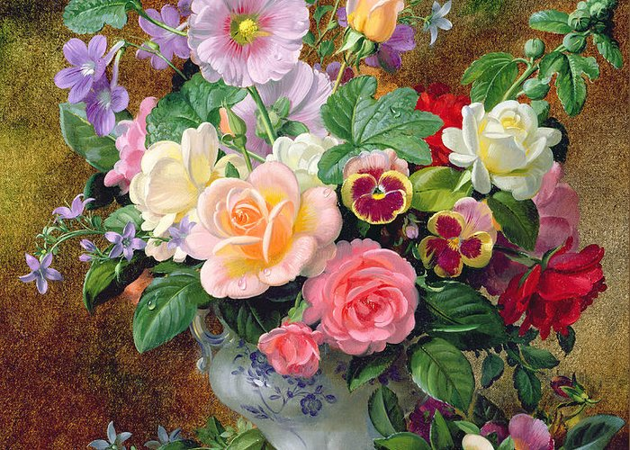 Still-life Greeting Card featuring the painting Roses Pansies And Other Flowers In A Vase by Albert Williams