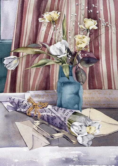 Julia Rowntree Greeting Card featuring the photograph Roses Tulips And Striped Curtains by Julia Rowntree