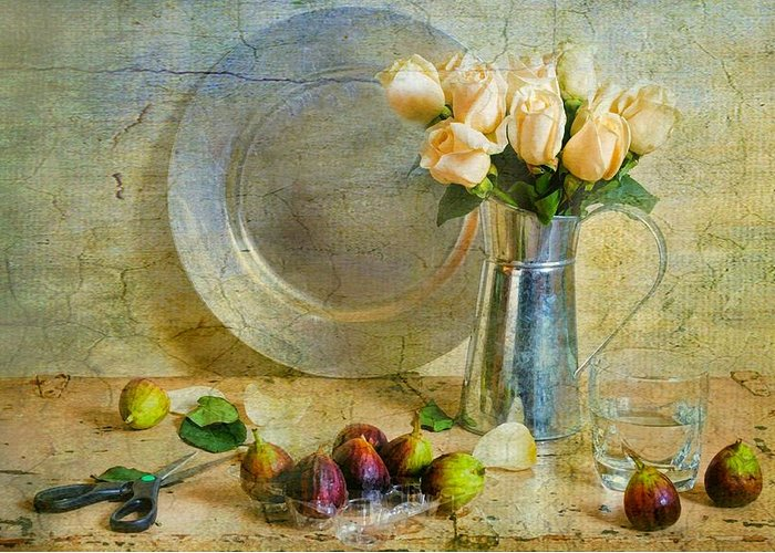 Still Life Greeting Card featuring the photograph Roses With Figs by Diana Angstadt