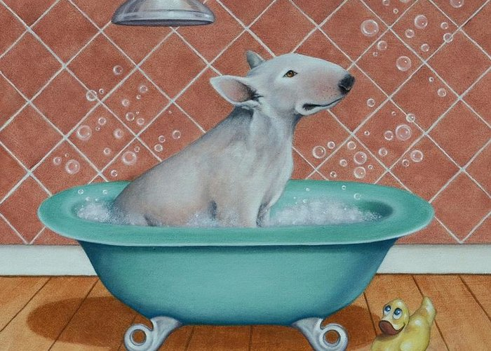 Dogs Greeting Card featuring the painting Rosie In The Bliss Bubbles by Cynthia House