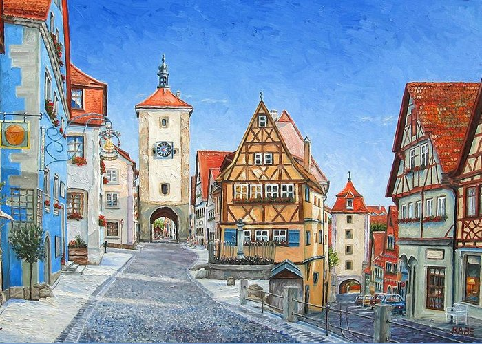 Rothenburg Greeting Card featuring the painting Rothenburg Germany by Mike Rabe