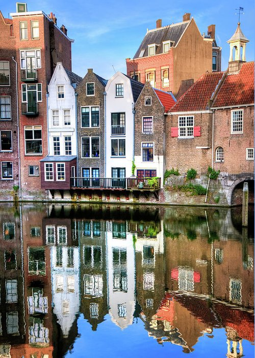 Dawn Greeting Card featuring the photograph Rotterdams Delfshaven With His Historic by Aleksandargeorgiev