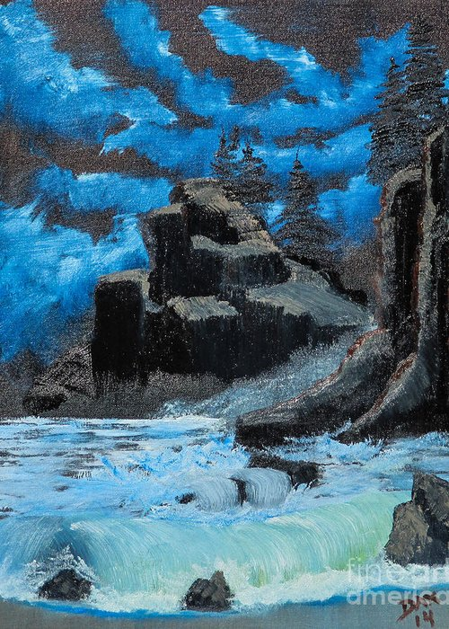 Landscape Greeting Card featuring the painting Rough Seas by Dave Atkins