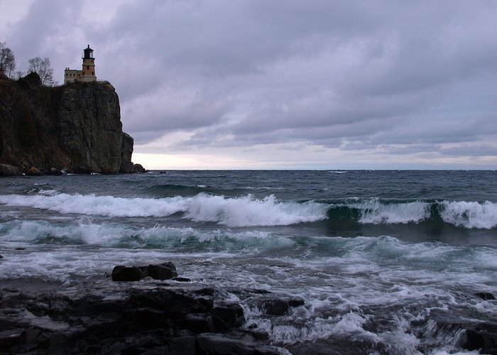 Nature Greeting Card featuring the photograph Rough Surf At Split Rock by James Peterson