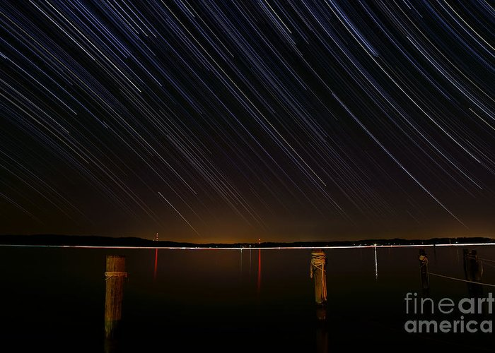 Star Greeting Card featuring the photograph Round Bay Startrails by Benjamin Reed