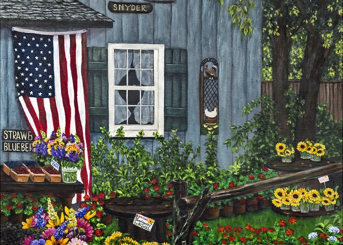 Farm Greeting Card featuring the painting Round Swamp Farm By Alison Tave by Sheldon Kralstein