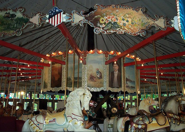 Carousel Greeting Card featuring the photograph Rounding Board Slater Park Carousel by Barbara McDevitt