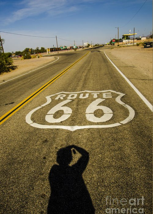 Route 66 Greeting Card featuring the photograph Route 66 Daggett California by Deborah Smolinske