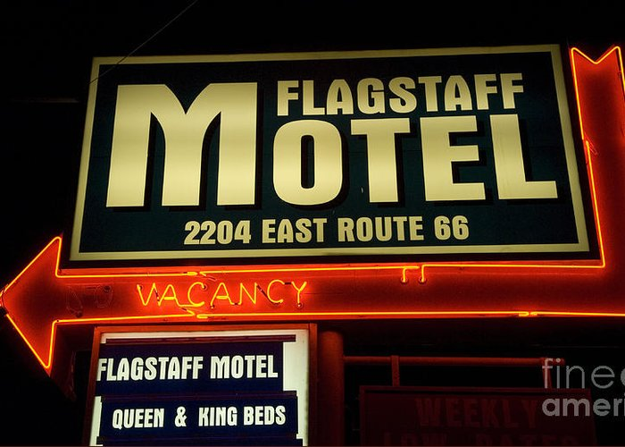 Classic Car Greeting Card featuring the photograph Route 66 Flagstaff Motel by Bob Christopher