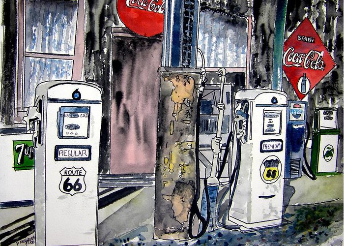 Watercolor Greeting Card featuring the painting Route 66 Gas Station by Derek Mccrea