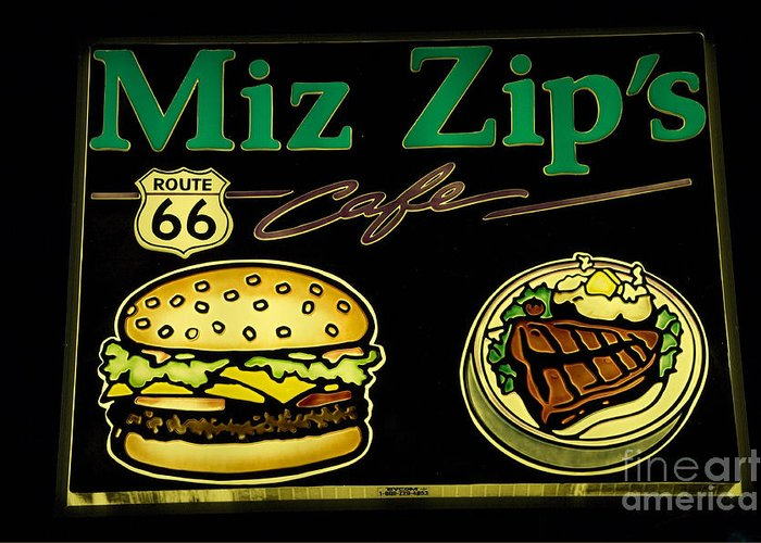 Classic Car Greeting Card featuring the photograph Route 66 Miz Zips by Bob Christopher