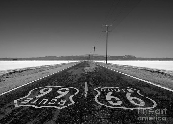 Route 66 Greeting Card featuring the photograph Route 66 Mojave Desert Salt Flats by Trekkerimages Photography