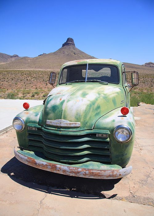 66 Greeting Card featuring the photograph Route 66 - Old Green Chevy by Frank Romeo