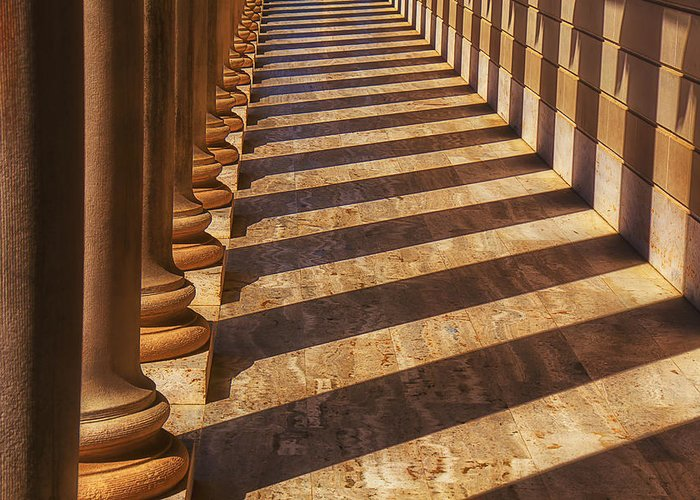 Row Greeting Card featuring the photograph Row Of Pillars by Garry Gay