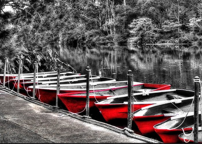 Photography Greeting Card featuring the photograph Row Of Red Rowing Boats by Kaye Menner