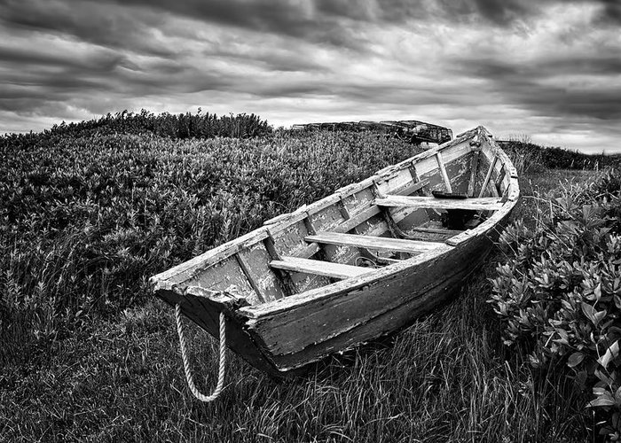 Rowboats Greeting Card featuring the photograph Rowboat At Prospect Point - Black And White by Nikolyn McDonald