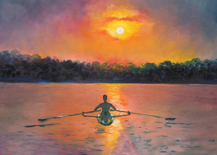 Rowing Greeting Card featuring the painting Rowing Away by Eve Wheeler