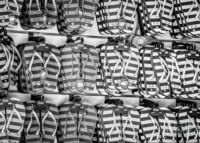 America Greeting Card featuring the photograph Rows Of Flip-flops Key West - Black And White by Ian Monk