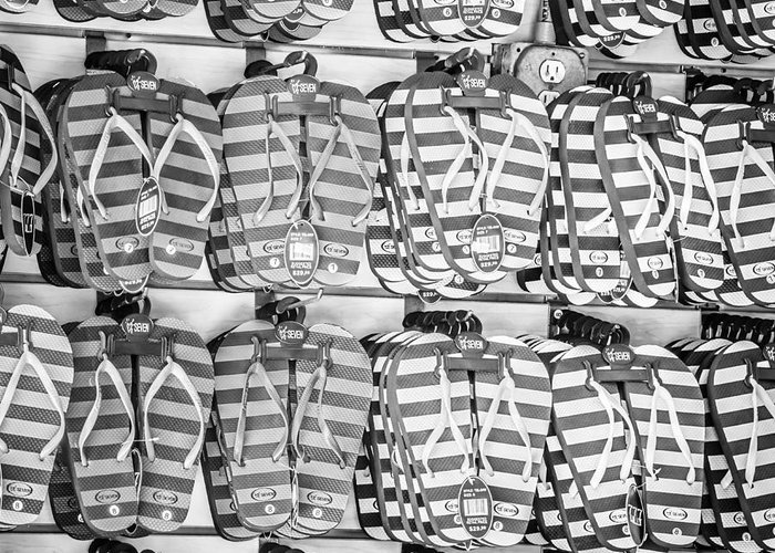 America Greeting Card featuring the photograph Rows Of Flip-flops Key West - Square - Black And White by Ian Monk