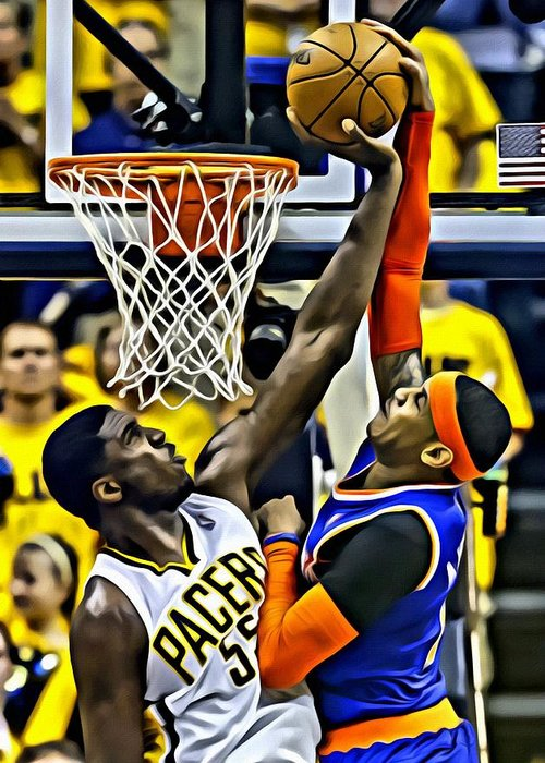 Nba Greeting Card featuring the painting Roy Hibbert Vs Carmelo Anthony by Florian Rodarte