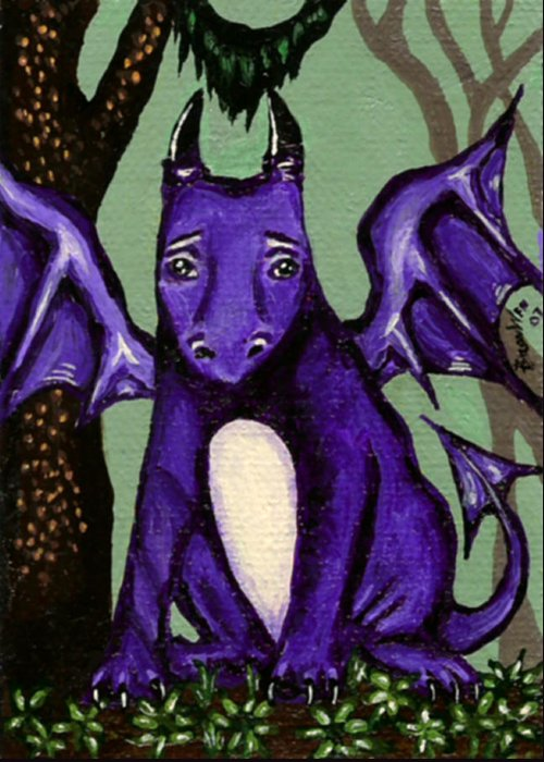 Dragon Greeting Card featuring the painting Royal Amethyst Dragon Pup by Bronwen Skye