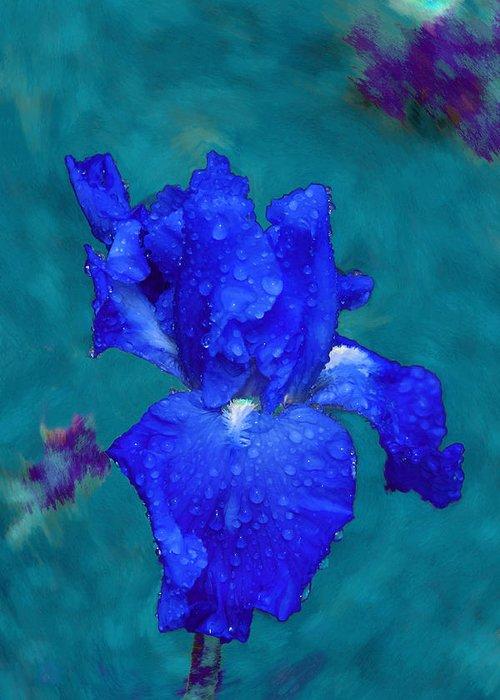 Blue Iris Greeting Card featuring the painting Royal Blue Iris by Viktor Savchenko