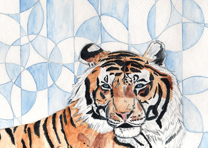 Tiger Greeting Card featuring the painting Royal Mysticism by Crystal Hubbard