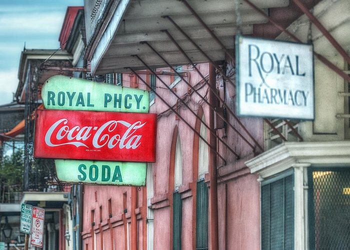 French Quarter Greeting Card featuring the photograph Royal Pharmacy by Brenda Bryant