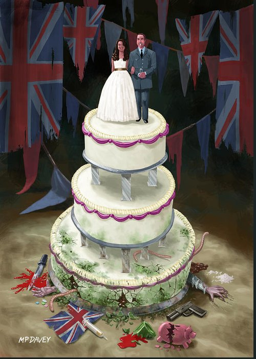 Wedding Greeting Card featuring the drawing Royal Wedding 2011 Cake by Martin Davey