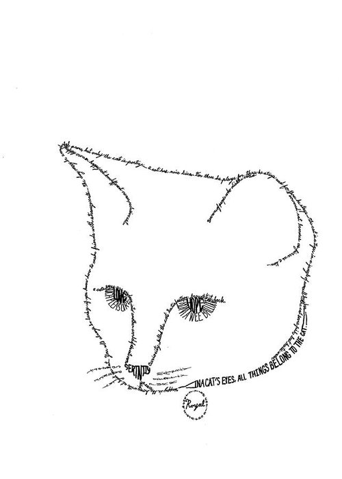 Word Picture Greeting Card featuring the drawing Royalty In A Word Is Cat by Bethany Martin