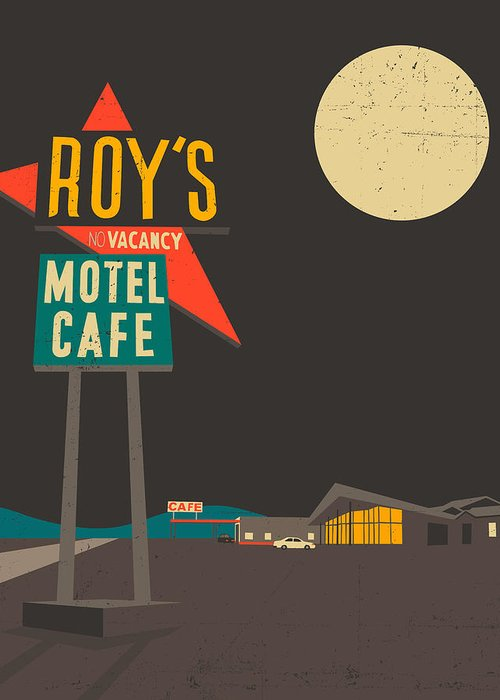 Route 66 Greeting Card featuring the digital art Roys Cafe by Jazzberry Blue
