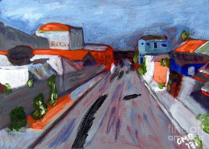 Curitiba Greeting Card featuring the painting Rua Dr Rafael Ribeiro Study IV by Greg Mason Burns