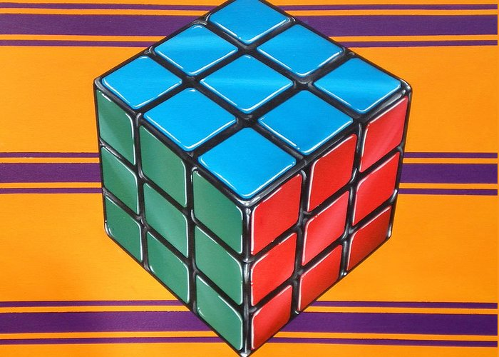 Rubiks Cube Greeting Card featuring the painting Rubiks by Anthony Mezza
