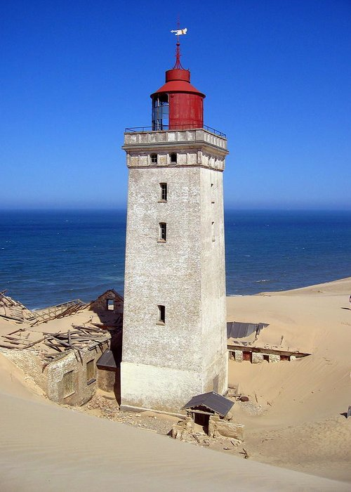 Lighthouse Greeting Card featuring the photograph Rubjerg Knude Lighthouse 2 by Konni Jensen