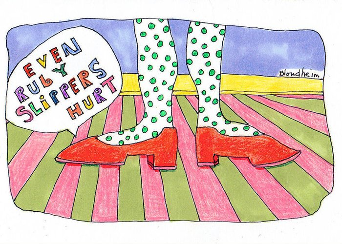 Linda Greeting Card featuring the drawing Ruby Slippers by Linda Blondheim