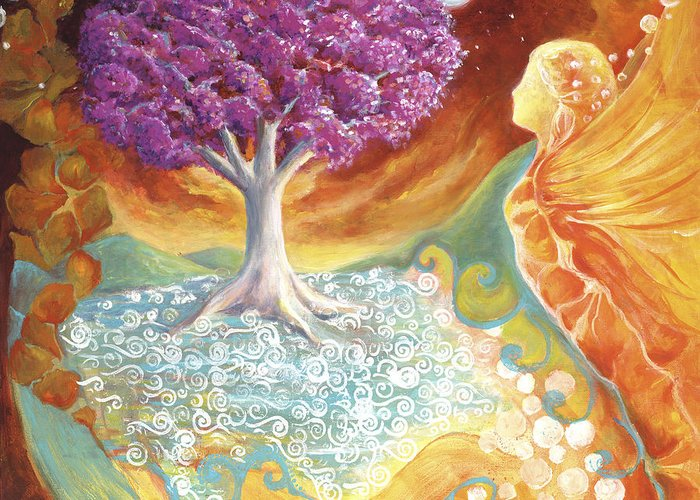 Earth Greeting Card featuring the painting Ruby Tree Spirit by Valerie Graniou-Cook