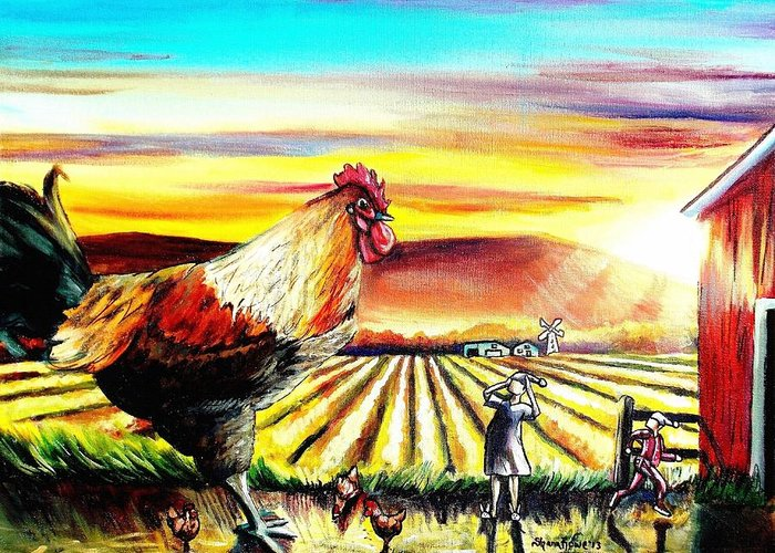 Rooster Greeting Card featuring the painting Rude Awakening by Shana Rowe Jackson