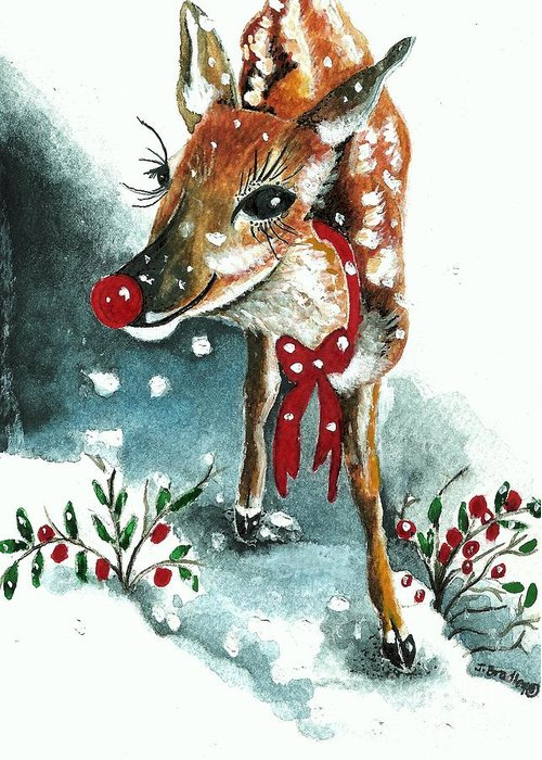 Snow Greeting Card featuring the painting Rudolf by Joy Bradley