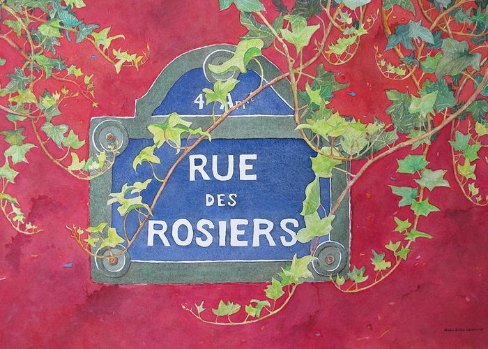 Red Wall Greeting Card featuring the painting Rue Des Rosiers In Paris by Mary Ellen Mueller Legault