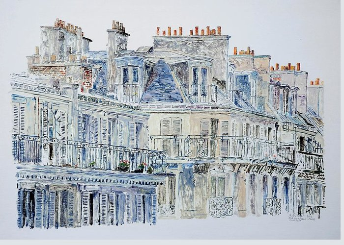 French Greeting Card featuring the painting Rue Du Rivoli Paris by Anthony Butera
