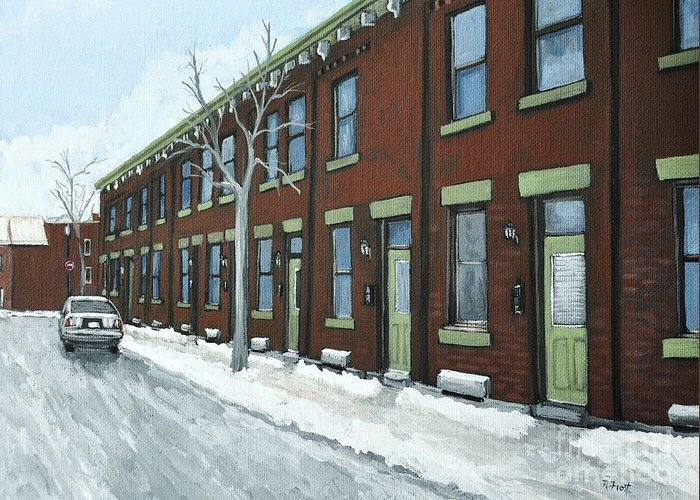 Pointe St. Charles Greeting Card featuring the painting Rue Grand Trunk Pointe St. Charles by Reb Frost