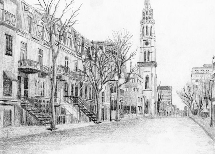 Cityscape Greeting Card featuring the drawing Rue St-denis by Duane Gordon