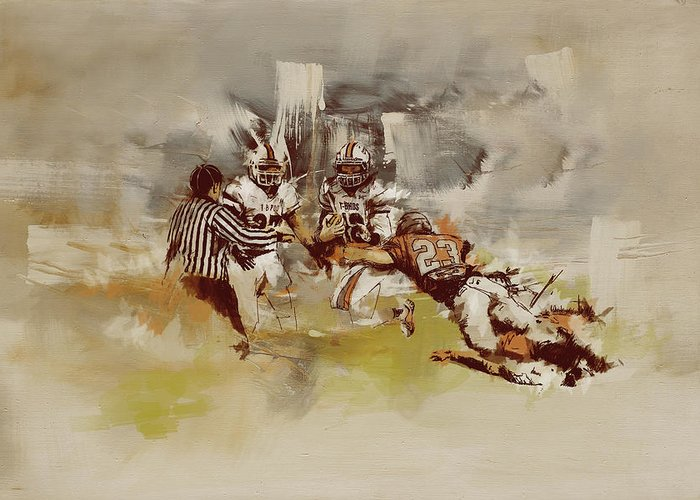 Sports Greeting Card featuring the painting Rugby by Corporate Art Task Force