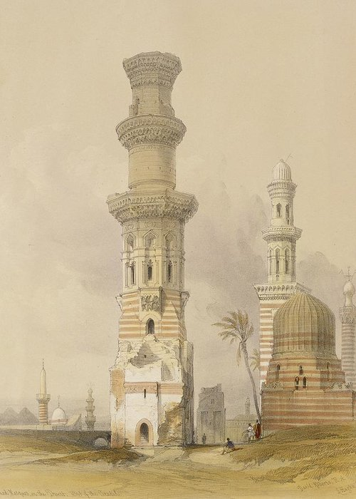 Ruins Greeting Card featuring the painting Ruined Mosques In The Desert by David Roberts