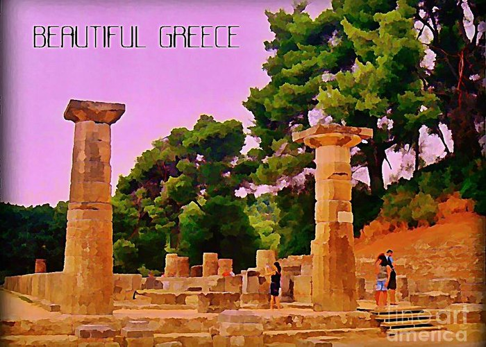 Ruins At Olympus Greece Greeting Card featuring the painting Ruins At Olympus Greece by John Malone