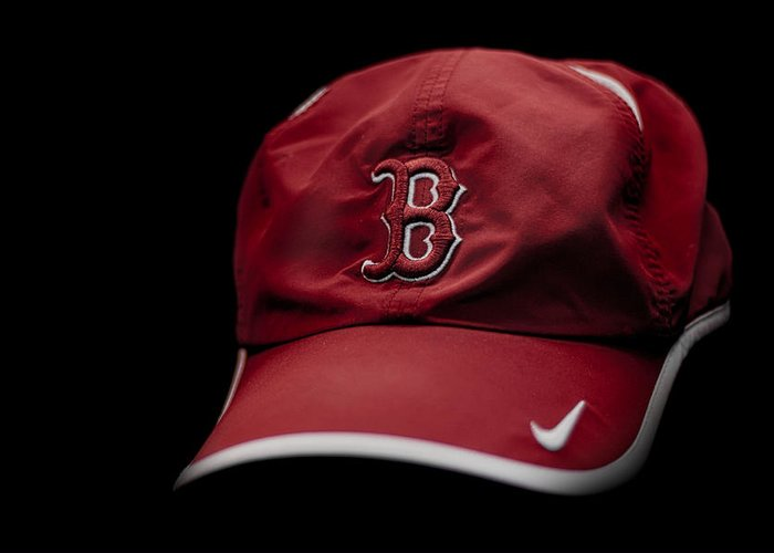 Running Hat Boston Marathon Red Sox Runner Running Red Black White Swoosh Nike Stripe Bill Cap Shadow Highlight B Strong Boston Strong Boston Our City Strength City Boston Strong Greeting Card featuring the photograph Running Hat by Tom Gort