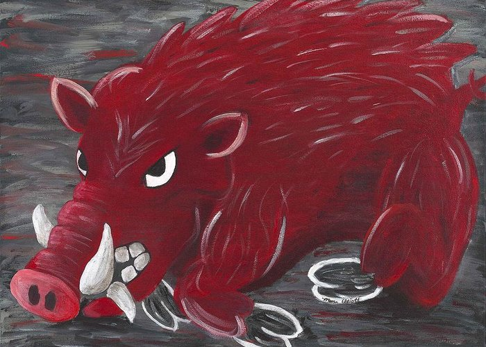 Razorback Greeting Card featuring the painting Running Razorback by Mona Elliott